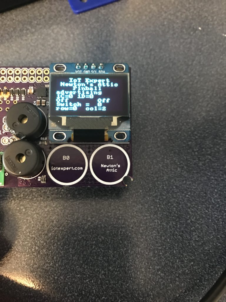 OLED Display showing BLE Advertising State