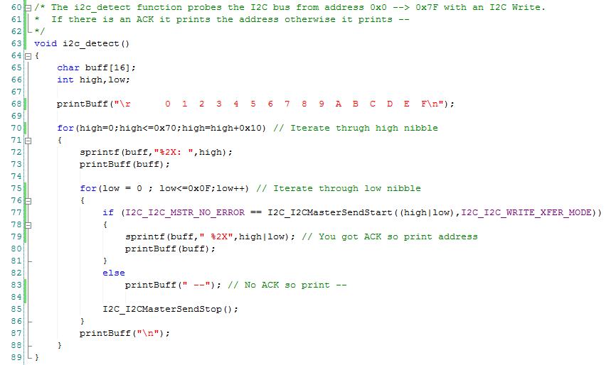 PSoC Creator I2C Detect Firmware