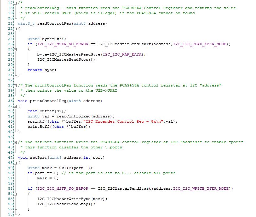 PSoC Creator PCA9546A Control Firmware