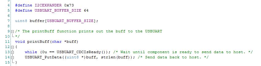 PSoC Creator Firmware PrintBuff Helper Function