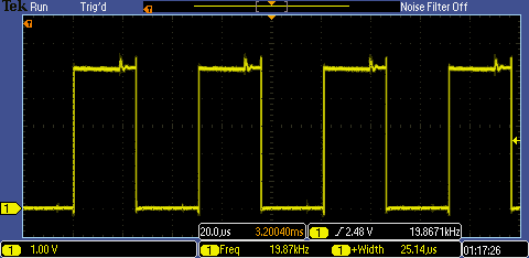 Oscilloscope of functioning PSoC Motor Driver