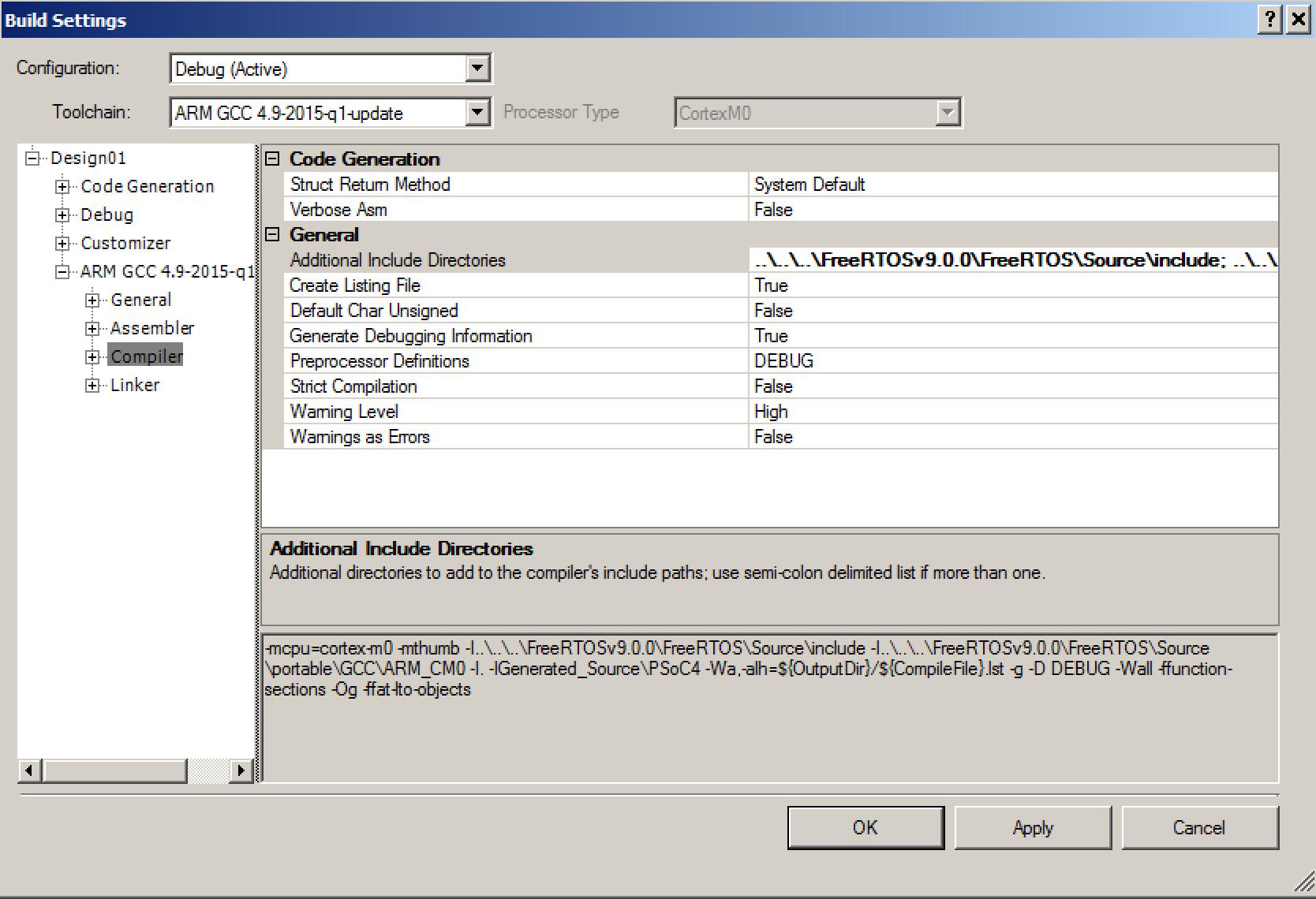 Configuring the PSoC 4 FreeRTOS build settings