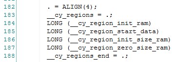 PSoC4 Boot Sequence: linker script definition of __cy_regions array
