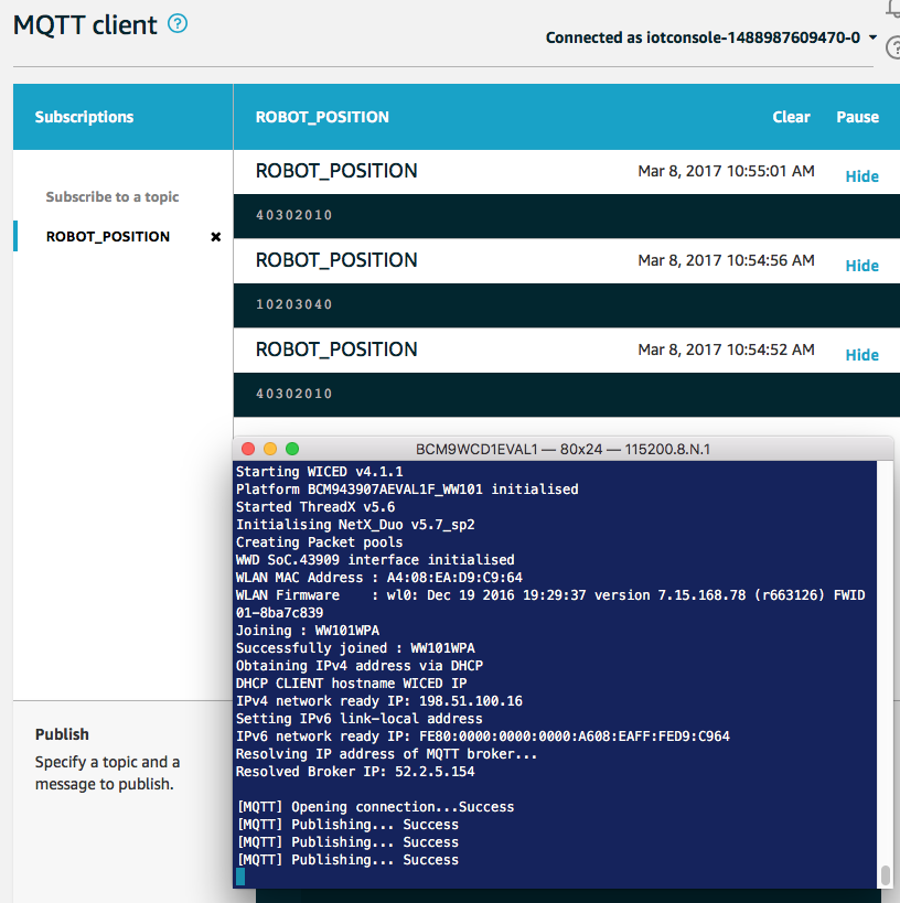 WICED WiFI MQTT Publisher Test