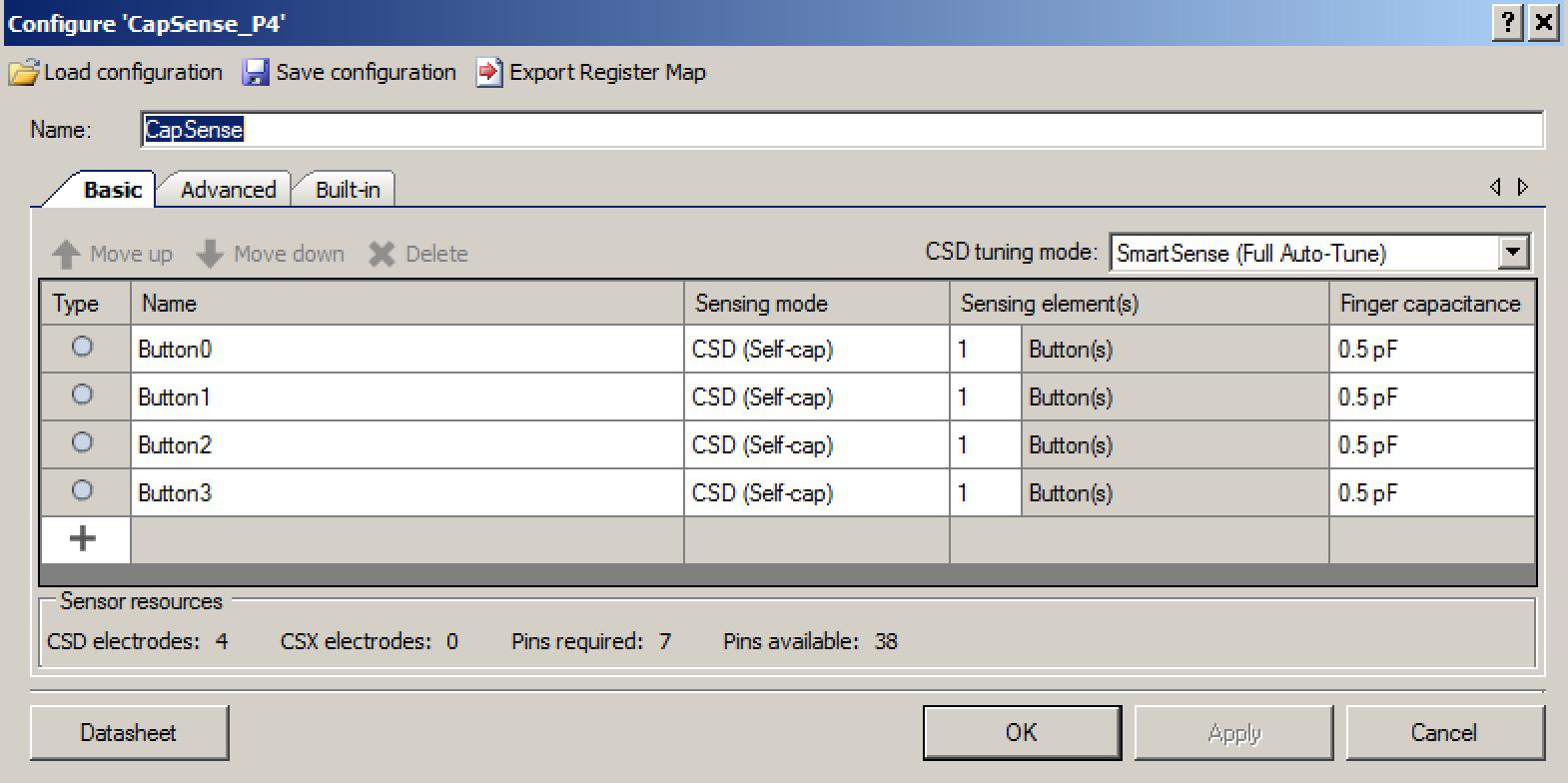 CapSense Configuration