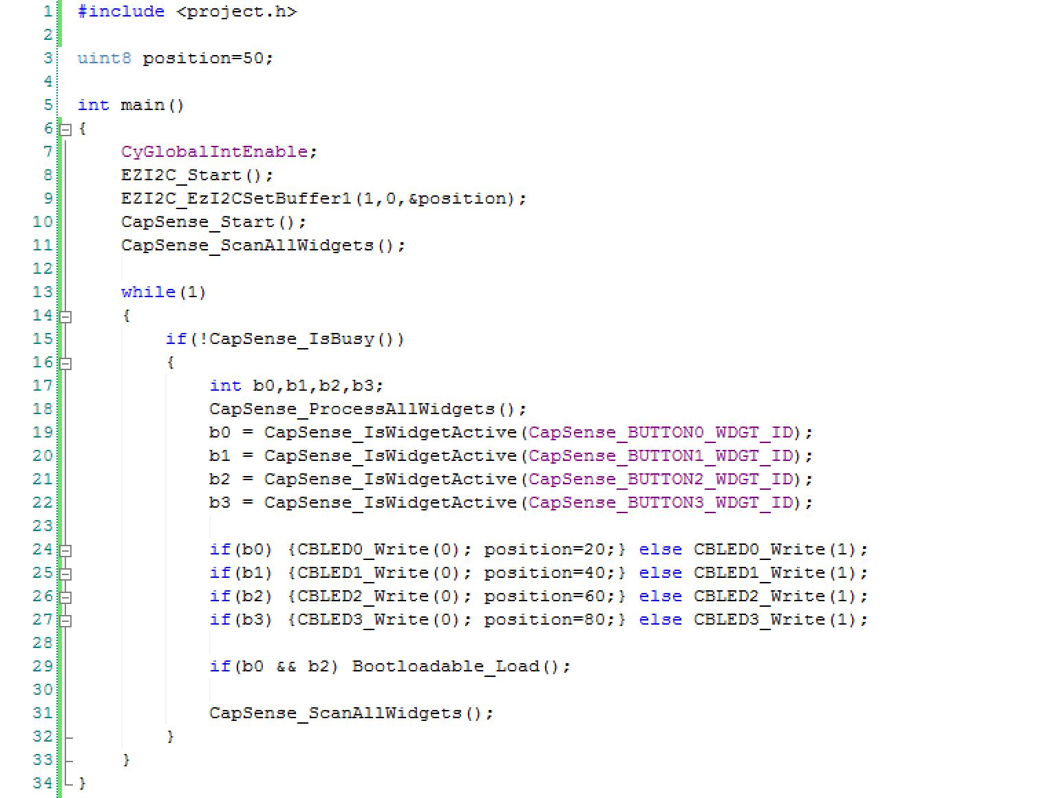 PSoC Analog CoProcessor Main.c