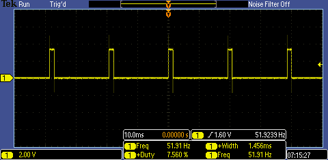 Servo Motor Pulses on Oscilliscope