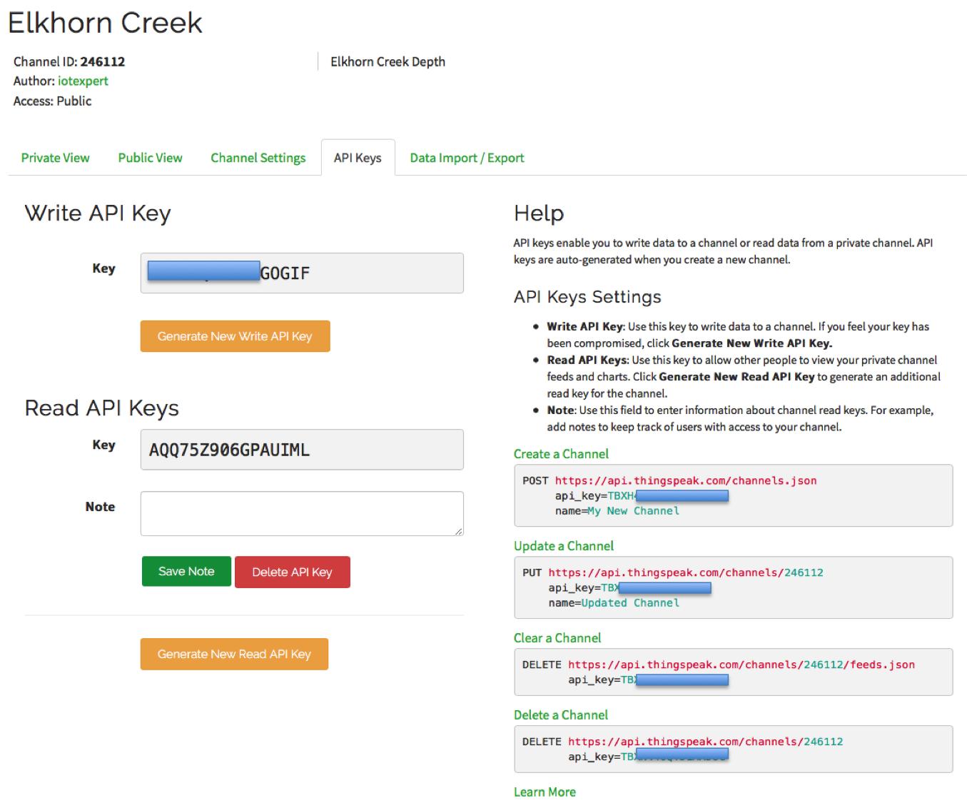 ThingSpeak Channel API Keys