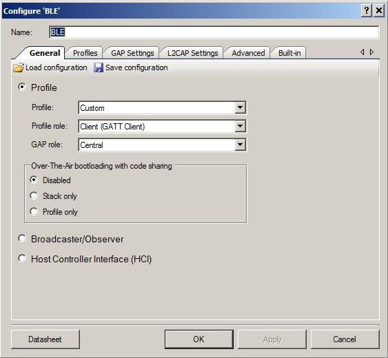 PSoC4 BLE Central BLE Configuration