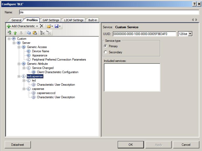 PSoC4 BLE Peripheral GATT Configuration
