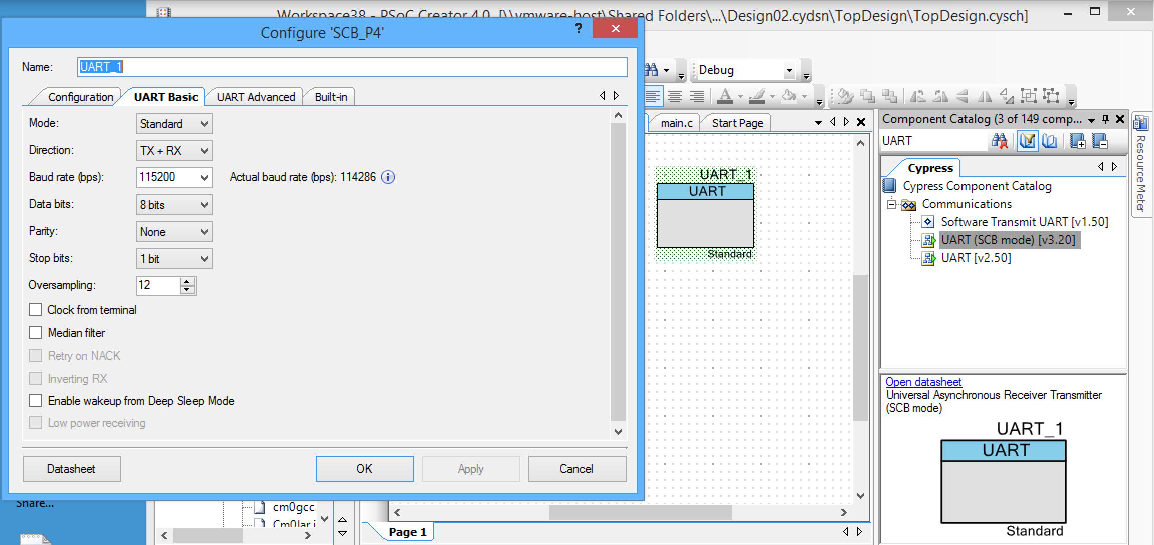 PSoC PRINTF UART Configuration