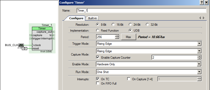 PSoC 5 Timer Component Configuration