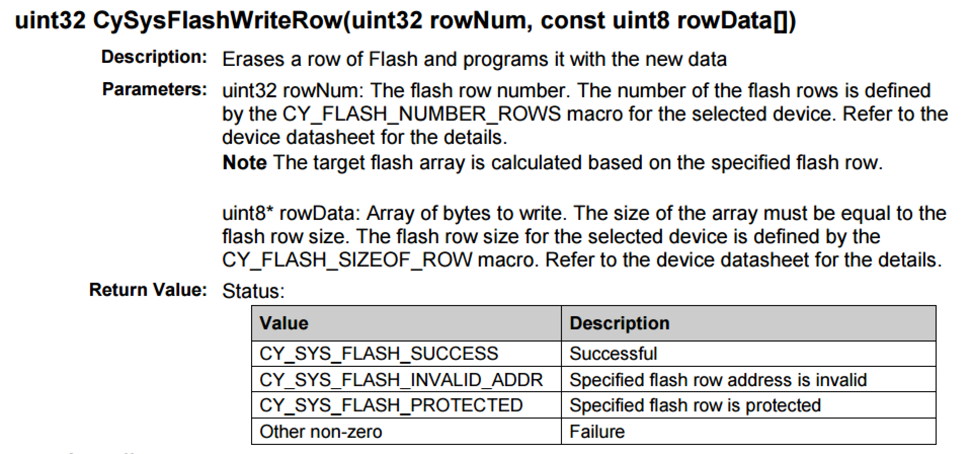 PSoC 4 Flash Write API