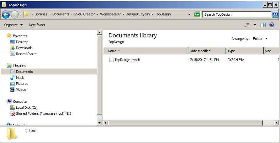 PSoC Creator - Top Design Directory