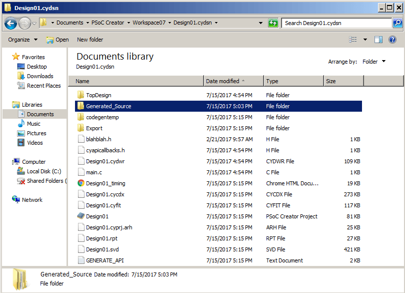 PSoC Creator - Windows Explorer Top Project Directory