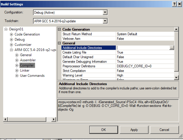 PSoC Creator - Add FreeRTOS Include Directories