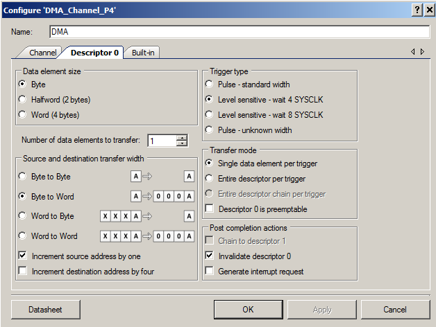 PSoC DMA Streamport - DMA Configuration