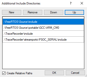 FreeRTOS PSoC Template PSoC Creator Include Path