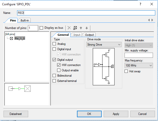 PSoC 6 Digital Output Pin