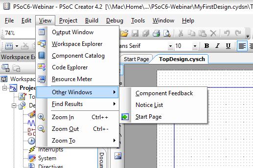 PSoC Creator - Start Window