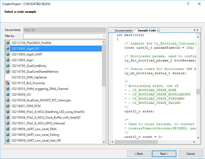 PSoC Creator PSoC 6 Code Examples