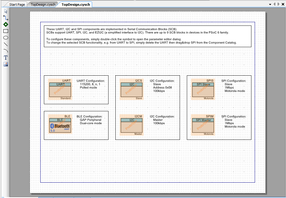 PSoC Creator PSoC 6 PrePopulated Schematic