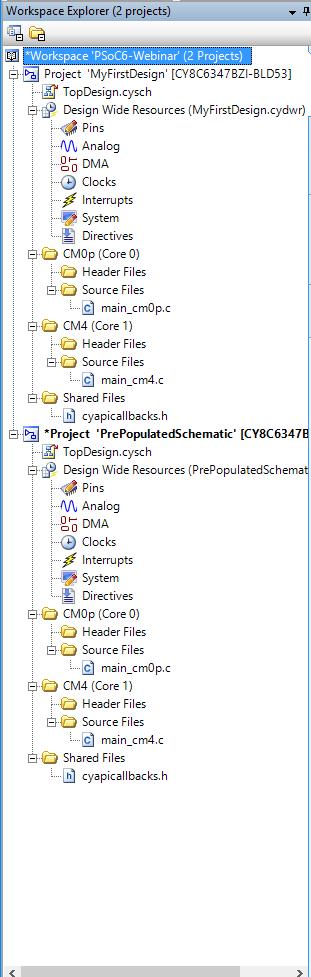 PSoC 6 Workspace Explorer