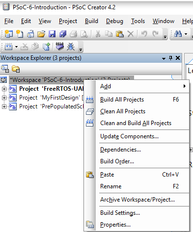PSoC 6 Create New Project - Paste