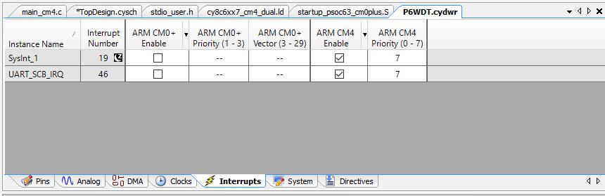 PSoC 6 Interrupts